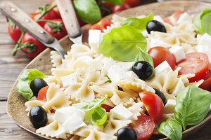 Salad with cold pasta, square image
