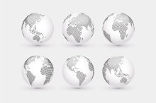 Set of vector dotted globes + Bonus