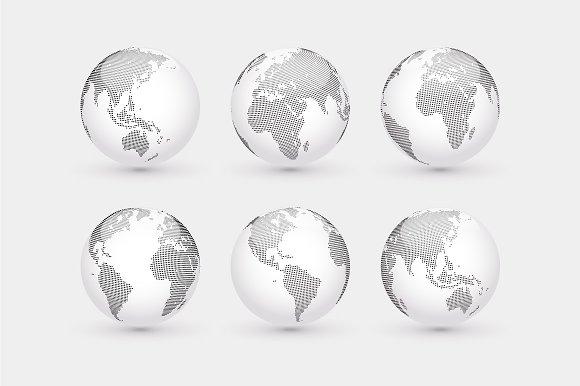 Set of vector dotted globes + Bonus in Illustrations