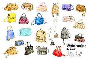 Watercolor hand bags