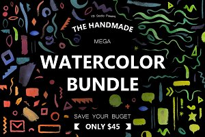 COLORFUL WATERCOLOR PSD & PNG BUNDLE