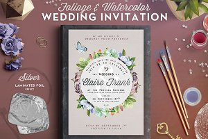 Foliage&Watercolor Wedding Card III