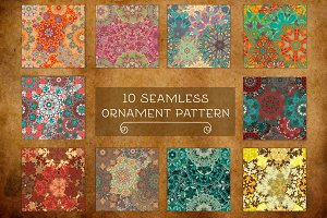 Set of 10 seamless mandala patterns