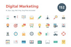 150+ Flat Digital Marketing Icons