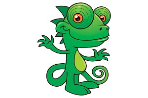 Happy Chameleon Cartoon
