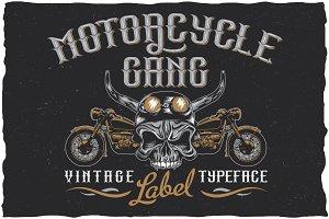 Motorcycle Gang label font
