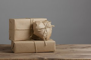 gift boxes wrapped brown kraft paper