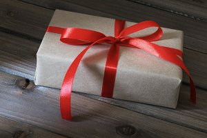gift box wrapped in kraft paper