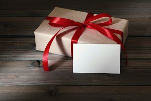 gift box wrapped in kraft peper
