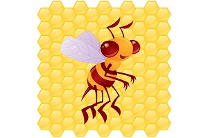 Honey Bee with Honeycomb Background