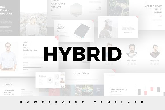 hybrid minimal powerpoint template presentation templates creative market. Black Bedroom Furniture Sets. Home Design Ideas