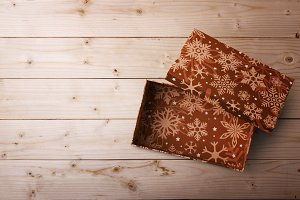 open gift box on a wooden background