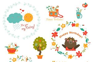 Wreath and animals,birthday elements