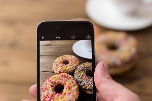 Taking photo of donuts