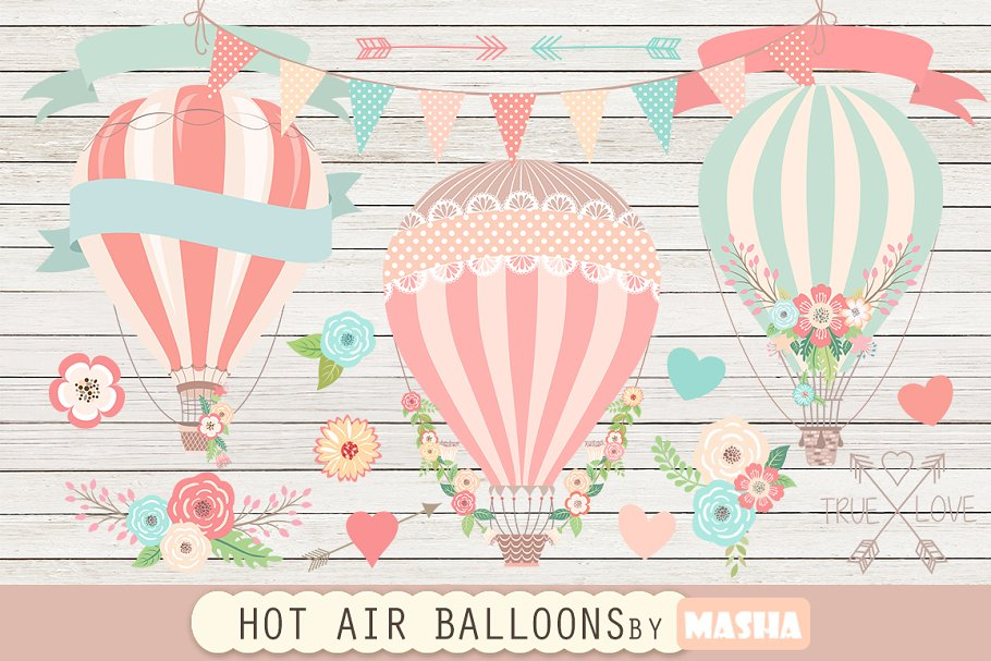 Hot Air Balloons Clipart Graphics Creative Market