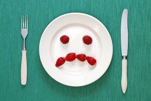 Fork, knife and sad face