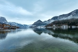 Winter lake Grundlsee view