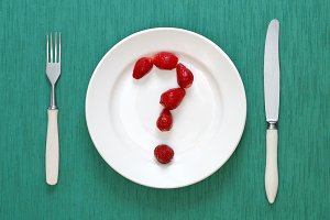 Fork, knife and question mark