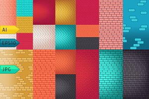 Brick walls seamless vector backdrop