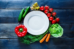 Organic vegetables and seasoning