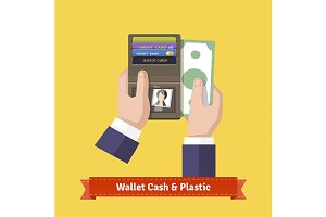 Opened wallet in hands flat icon.