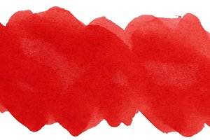 Red stroke of watercolor paint