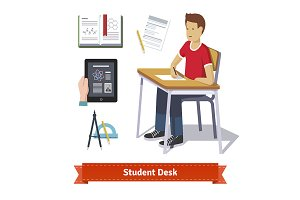 Student desk colourful set