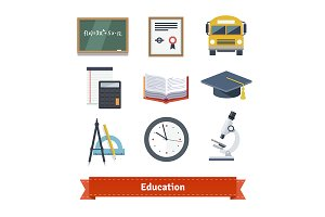 Education flat icon set.