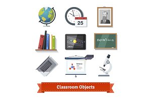Classroom objects colourful set