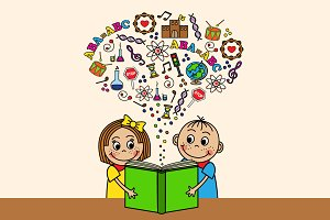 Cartoon children read a book