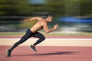 Sprinter leaving  on the running