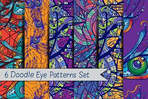 6 Doodle Eye Patterns Set