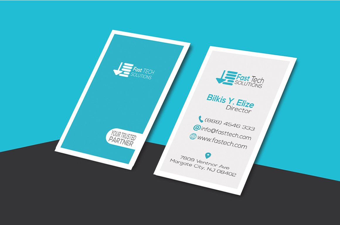 Fast Tech Modern Business Card ~ Business Card Templates ~ Creative ...