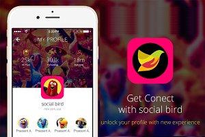 4 Flat Social Bird App Design UI