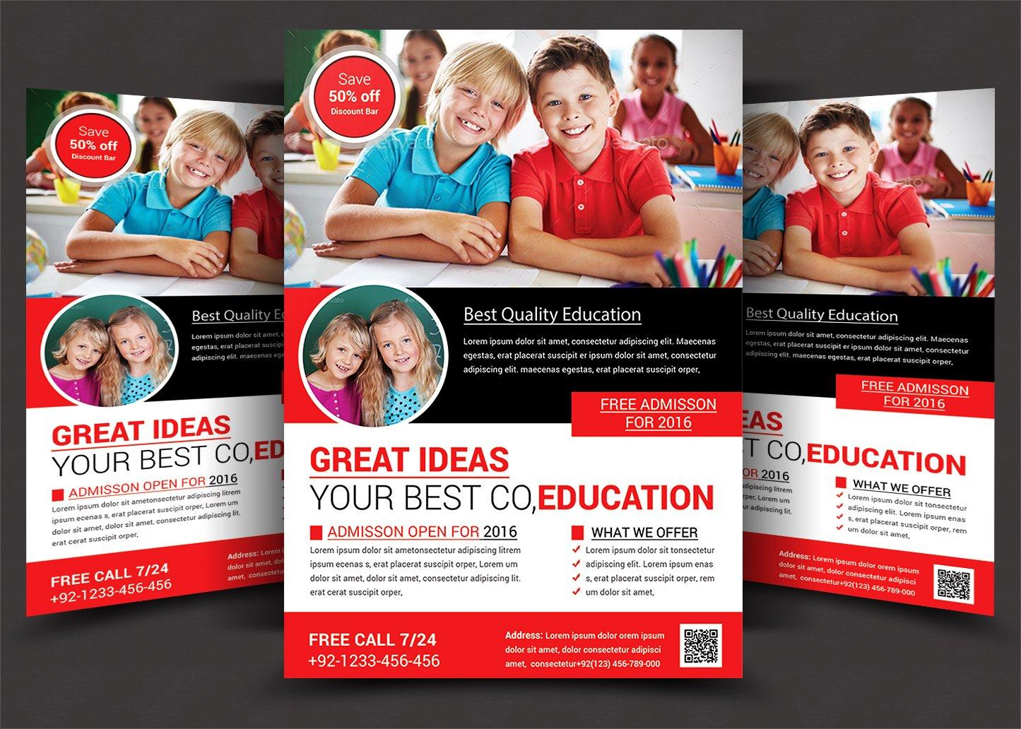 school flyer flyer templates creative market. Black Bedroom Furniture Sets. Home Design Ideas