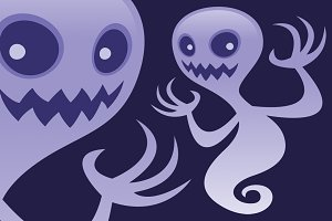 Grinning Ghost Cartoon