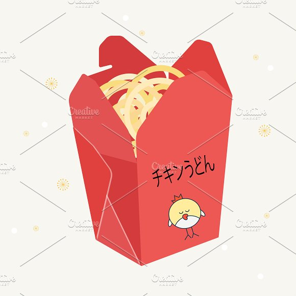 Wok. Chinese noodles - Illustrations