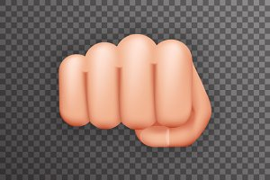 Realistic fist punch icon isolated