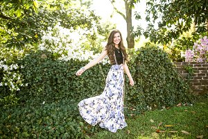Girl Posing Outdoors in Floral Wear