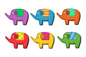 Set of multi-colored elephants