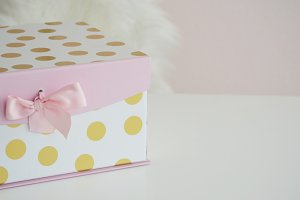 Stylized Feminine Gift Box Stock