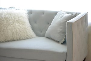 Feminine Blue Couch Stock