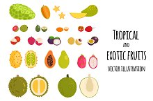 Set of tropical exotic fruits