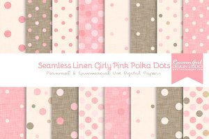 Seamless Linen Girly Pink Polka Dots