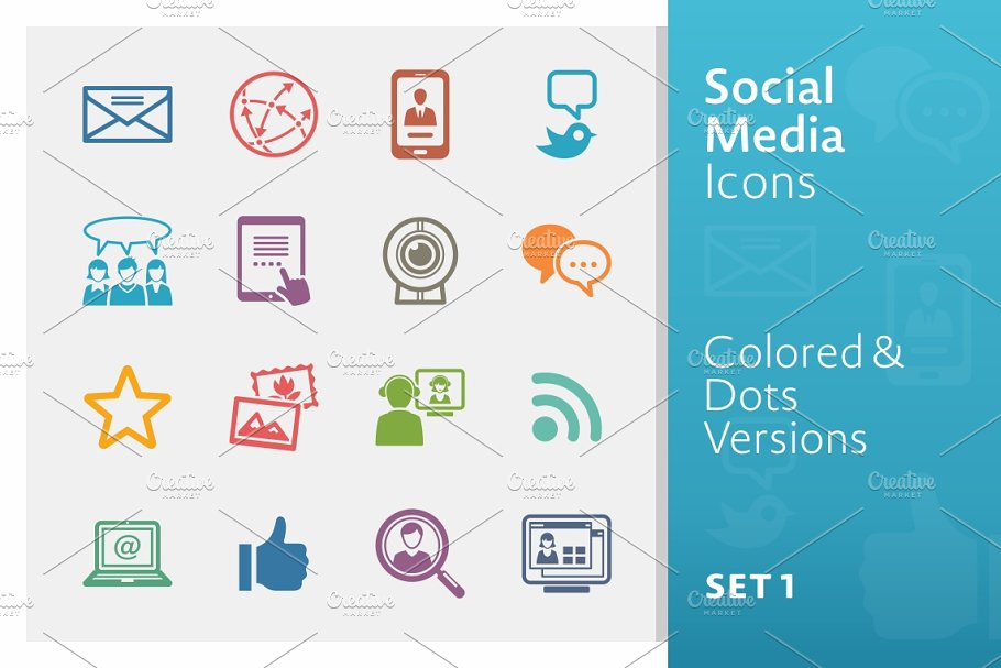 Social Media Icons Set 1 | Colored