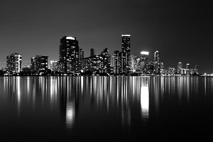 Miami Skyline (B&W)
