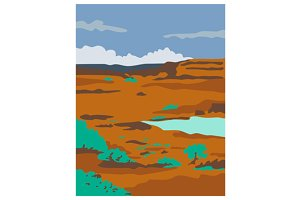 Columbian Basin Desert Scene Retro