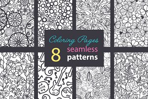 8 Premium Adult Coloring Patterns