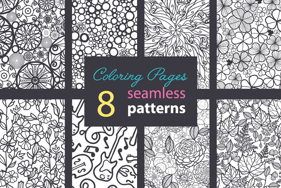 Coloring Pages Big Collection Illustrations Creative Market