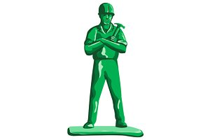 Green Builder Holding Hammer Retro